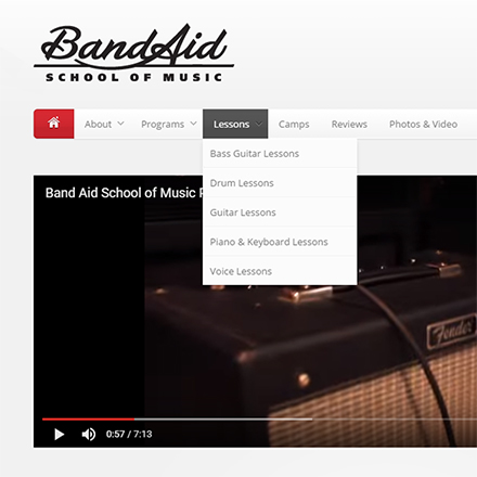 Band Aid School of Music Website